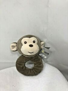 Moon and stars Infant Baby Soft Plush Stuffed Brown Monkey Hand Held Rattle