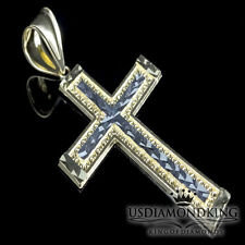 TWO TONE REAL 10K YELLOW & WHITE GOLD CROSS CHARM PENDANT 2 INCH 3 GRAMS MEN'S