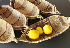 Ethiopian Handmade Woven Gambela Basket Canoe-Shaped African Art Décor Baskets