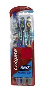 Colgate 360 FLOSS-TIP Toothbrush (MEDIUM)- Pack Of 3 toothbrush   Deep clean