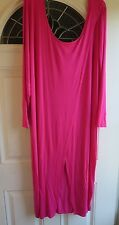 PLUS SIZE LONG STRETCHY OVERLAP FRONT ROSE PINK DRESS: SIZE 3X