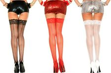 S001472 Black Lace Suspender Stockings With Lace Belt and Back Seam