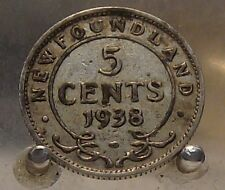 1938 Canada, Newfoundland Silver 5 Cents, Old Sterling Silver World Coin