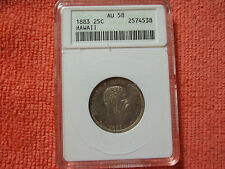 #..bek...1883 Hawaii Silver Quarter, graded AU58 by ANACS
