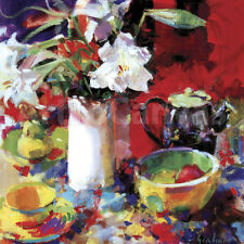 "32""x32"" MORNING TEA by PETER GRAHAM COLORS STILL LIFE CANVAS"