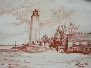 "Original Drawing ""LIGHTHOUSE, New Haven, CT."" PRINT from CT. Artist JOHN ANZEL"