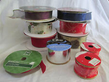 LARGE LOT OF CHRISTMAS RIBBON VELVET~GLITTER~WIRED~KIRKLAND~RED~GOLD~PURPLE~BLUE