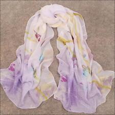 Women's Fashion Floral Print Georgette Chiffon Long Wrap Shawl Beach Silk Scarf
