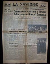 Quotidiano LA NAZIONE Alluvione di Firenze  28 Novembre 1966 Apertura Lirica