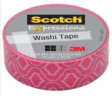"LOT OF 3 3M Scotch Expressions Washi Tape PINK C314-P23  .59X393"" 15X10mm 10.9YD"