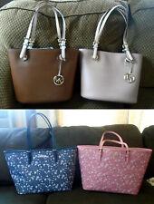 Michael Kors Jet Set Travel Tote Blue Pink Floral Med Fawn Luggage Leather Bag
