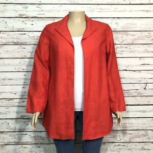 Coldwater Creek Open Front Blazer Jacket 16 Misses Pumpkin Orange Linen Slub