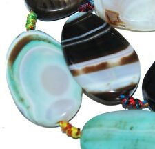40mm Oval Agate Gemstone Loose Beads 5pc