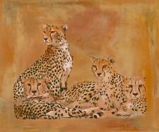 Wand Bild Peter Lang Tiere Wildtiere Raubkatze Malerei Ocker 49x59x1,2 cm A0XU
