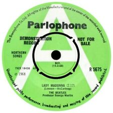 REPLICA THE BEATLES DEMO LADY MADONNA  PARLOPHONE  REPRO VINYL STICKER 85MM