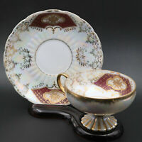 Vintage Iridescent Gold Trim Footed Royal Sealy China Japan Tea Cup & Saucer
