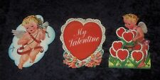 3 Vintage Valentine's Day Cupid Heart Cut Out Paper Litho Decorations Usa