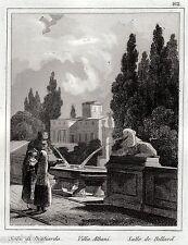 Roma: Villa Albani: Parco:Biliardo.Audot.Acciaio.Stampa Antica.Passepartout.1836