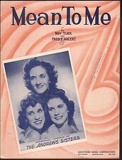 Mean To Me Andrews Sisters Sheet Music
