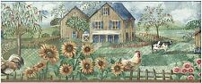 BARNS COWS CHICKENS SUNFLOWERS AMERICAN FLAG AND ROOSTERS Wallpaper bordeR