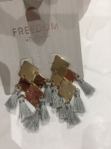 Freedom At Topshop Grey And Gold Tassel Earrings