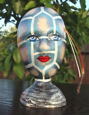 """Ceramic Self Standing Face Mask Glazed 6"""" Mexico Day of The Dead Art Modern Blue"""