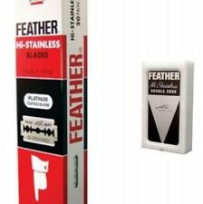 100 Razor Blades Shaving FEATHER Hi-Stainless Platinum Double Edge Coated Red