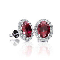 10K GOLD 2 CARAT OVAL RUBY AND HALO DIAMOND EARRINGS IN 3 GOLD COLORS