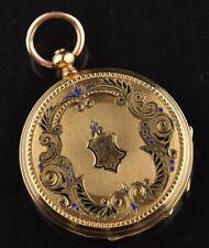 VACHERON GENEVE Antique small women pocket gold watch, blue enamel  34mm