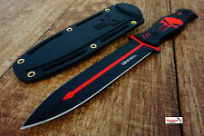 "10.25"" Punisher Skull Tactical Black/ Red Boot Knife with Sheath Survival Fixed"