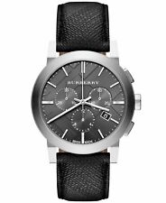 BURBERRY BU9362 THE CITY BLACK BEAT CHRONO LEATHER WATCH NEW WITH BOX