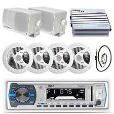 "Marine 6.5"" 150W Speakers, 3.5"" Speakers,Bluetooth White USB Radio, Antenna, Amp"
