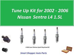 Tune Up Kit for 2002 - 2006 Sentra L4 2.5L PCV Valve, Air Filter, Oil Filter, Sp