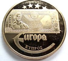 EUROPEAN BANKNOTES CYPRUS 20 LIRA 2003 Proof Medal 40mm 22g Gold Plated.GG4.3
