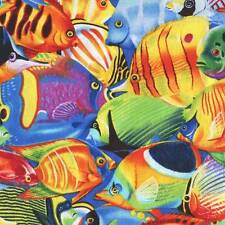 BRIGHT COLORFUL TROPICAL FISH Cotton Fabric BTY for Quilting, Craft Etc