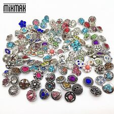 wholesale 100pcs mix styles metal silver mini 12mm snaps charm fit Snap Jewelry