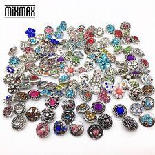 wholesale 100pcs mix styles metal silver mini 12mm snaps charm fit Snap Jewelry