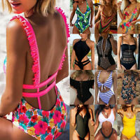 Womens One-Piece Swimsuit Bandage Bikini Push-up Padded Swimwear Bathing suit AM