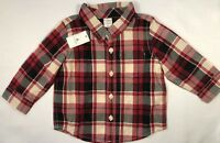 NWT Baby Gap Boys 12-18 Months Red Black Plaid Christmas Holiday Shirt