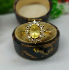 18ct Gold, Yellow and White Sapphire Cluster Ring. Yellow Sapphire statement