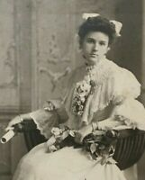 Antique Cabinet Card Photo Pretty Young Victorian Woman NY 1890s ID'd Graduation