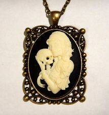 GYPSY GIRL CAMEO PENDANT square portrait Day of the dead gothic necklace B6