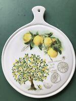 """1 Ceramica Cuore 8.25"""" Hanging Cheese Serving Board Tile Trivet Yellow Lemons"""