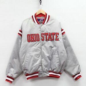 Vintage Ohio State Buckeyes Pro Player Satin Bomber Jacket Large NCAA Insulated