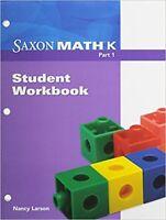 Saxon Math Kindergarten Student Workbook Part 1 3rd Edition Third Grade K