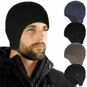 Warm Men Knitted Aviator Bomber Beanie Hat Winter Lining With Ear Flaps Ski Hat
