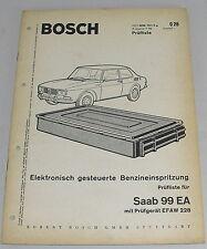 Werkstatthandbuch Prüfliste Saab 99 EA Bosch elektronische Benzineinspritzung