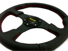 "New Leather, Red Stitch 14"" Car Sport Racing Steering Wheel + Horn Button"