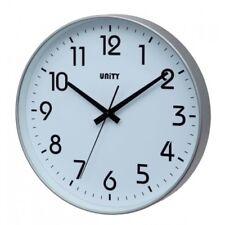 Silver Wall Clock By Unity, Fradley Range 30 cm Across Silent Sweep No Tick