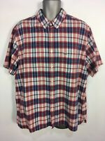 MENS LACOSTE FR 46 US 2XL XXL REGULAR FIT RED BLUE CHECK SHORT SLEEVE SHIRT TOP